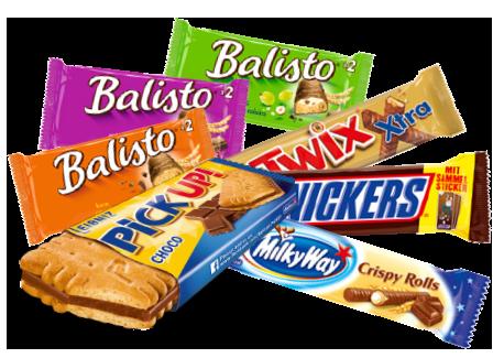 Schoko Riegel von Mars, Balisto, Milkyway Twix und co, Snack-Bär, Naschen für zu Hause